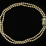 SOLD Well Carved Double Strand Ivory Bead Panda Necklace