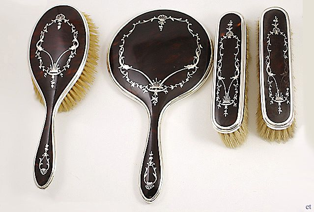 4pc English Tortoise Shell and Sterling Silver Inlay Dresser Set Adie Brothers