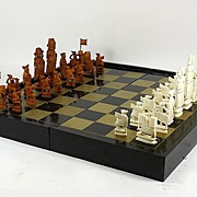 SOLD Highly Detailed 32pc Chinese Carved Ivory Chess Set w/Board
