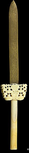 Great Antique Chinese Carved Ivory Engraved Brass Knife Letter Opener