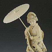 SOLD Marvelous Japanese Carved Ivory Shibayama Inlay Geisha Figurine