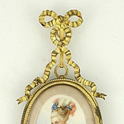 SOLD Hand Painted Framed Mme de Pompadour Miniature Portrait on Ivory Late 1800s