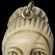 SOLD Well Carved Ivory 14 Karat Gold African Woman Pendant