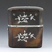 SOLD 18th Century Silver Inlaid Tortoise Shell Glass Perfume Flask c1780s