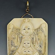 SOLD Large Hand Carved Ivory Pendant