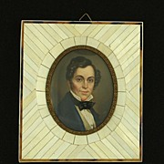 SOLD Framed Miniature Portrait on Ivory of German Composer Albert Lortzing 1800s