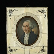 SOLD Framed Miniature Portrait on Ivory of George Washington Signed Simons 1800s