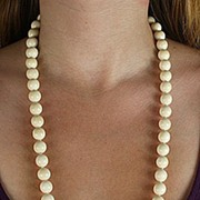 SOLD Antique Well Carved Large Ivory Bead Strand Necklace