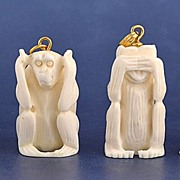 4 Carved Ivory See No Evil, Hear No Evil, Speak No Evil Monkey Pendants or Charms
