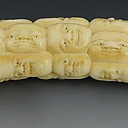 Unusual Chinese Carved Ivory Faces Cane Handle