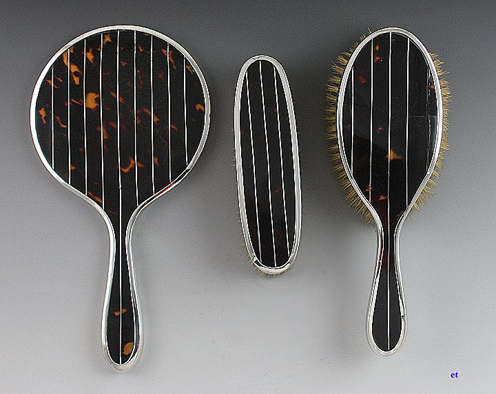 3 Piece 1923 English Sterling Tortoise Shell Dresser Set Brushes and Mirror