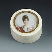 1800's French Ivory Miniature Portrait Ivory Box