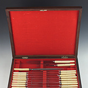 Fine 1850's J. Russell Ivory Comlete Carving and Knife Set