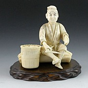Japanese Okimono Carved Ivory Fisherman Opening Clams