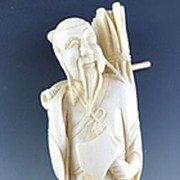 Turn of the Century Chinese Carved Ivory Woodsman Statue