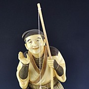 Best Quality Japanese Meiji Carved Ivory Fisherman Okimono Figurine