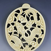 Incredible hand Carved ivory Dragon and Cloud Open Work Pendant