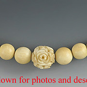 Antique Carved Chinese Ivory Bead Necklace with Floral Beads