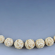 1800s Carved Chinese Ivory Necklace with Flower Beads
