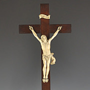 SOLD circa 1850's Carved Ivory Crucifix on Mahogany Wood Cross