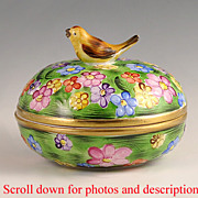 SOLD Charming Herend Hand Painted Porcelain Bird and Flower Box
