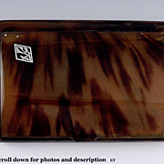 SOLD Hinged Tortoise Shell Cigarette Case with Platinum and Diamond Accent Lettering