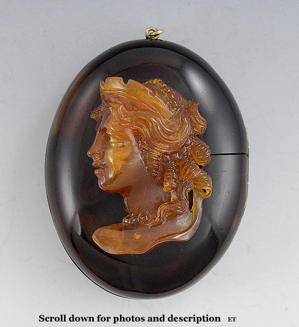 c1870's Fine Large Carved Tortoise Shell Cameo Locket of a Princess