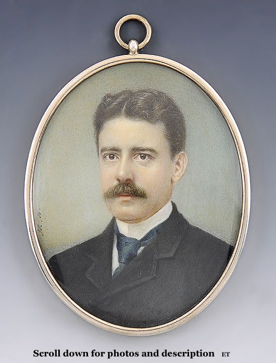 Fine c1900 Hand Painted Miniature Portrait on Ivory with Gilt Frame