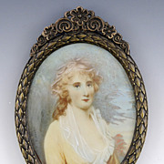 Early 1900's Portrait of a Lady on Ivory Miniature in a Beautiful Bronze Frame