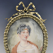 19th Century Portrait on Ivory Miniature in Bronze Ribbon Form Frame