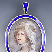 19th Century Miniature Portrait on Ivory in English Sterling Enameled Frame