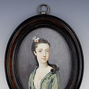 Early 19th Century Young Woman Portrait on Ivory Miniature in Wooden Frame