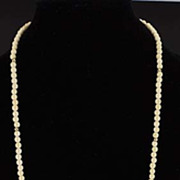 SOLD Beautiful Vintage Ivory and 14 Karat Gold Beaded Necklace 1950-1970's