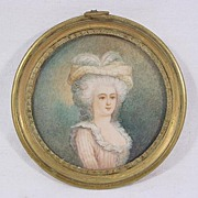 Lovely Framed Miniature Portrait on Ivory