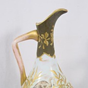 Very Fine Bohemian Harrach Glass Ewer Birds