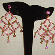 Gold-Tone and Pink Rhinestone Dangle Earrings