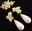 Signed Goldtone and Simulated Pearl Earring and Pin Set