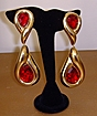 Goldtone and Red Stone Dangle Earrings
