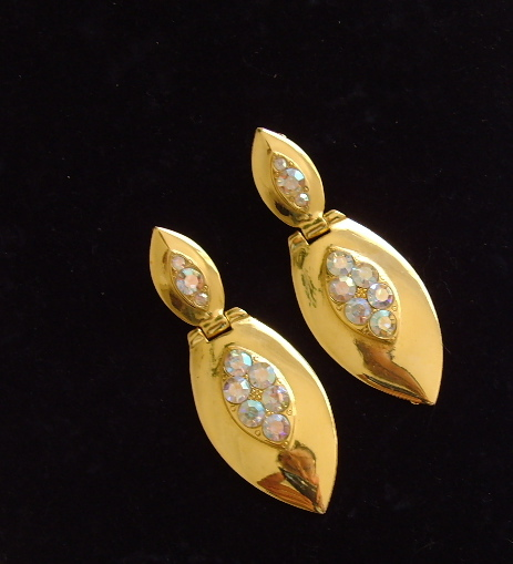 Goldtone and Rhinestone Dangle Clip Earrings