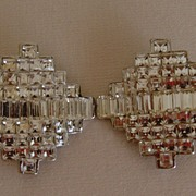 Art Deco Style Rhinestone Clip-On Earrings