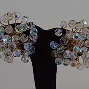 Crystal Aurora Borealis Cluster Clip-On Earrings