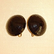 Black Faceted Lucite Clip-On Earrings