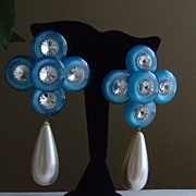 Lucite and Simulated Pearl Drop Earrings