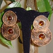 Copper Toned Metal and Amber Jelly Cabochon Earrings