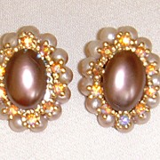 Simulated Pearl and Rhinestone Earrings