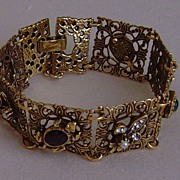 Vintage Gold-Tone and Simulated Stone Bracelet