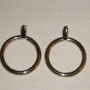 Silver-Tone Door-Knocker Pierced Earrings