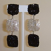 Black and White Crystal Rhinestone Dangle Earrings