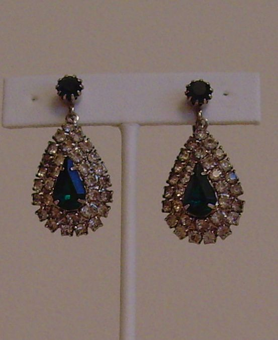 Celebrity Clear and Green Rhinestone Earrings