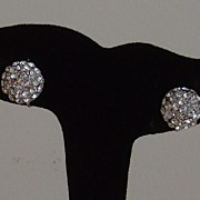Silver-Tone and Rhinestone Screw Back Earrings